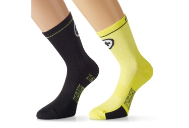 assos paire de chaussettes equipesocks evo7 noir jaune