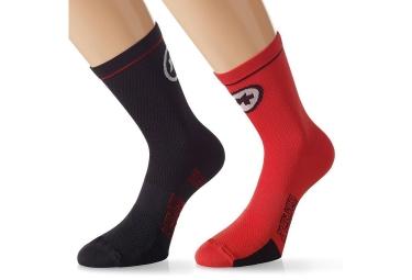 assos paire de chaussettes equipesocks evo7 noir rouge