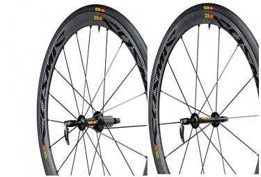 mavic 2015 paire de roue cosmic carbone 40c version shimano sram pneu yksion pro