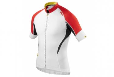 mavic maillot manches courtes hc blanc rouge