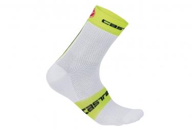 castelli paire de chaussettes free 9 blanc jaune