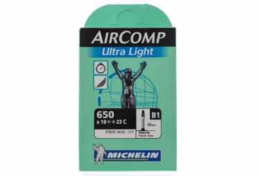 michelin chambre a air aircomp ultralight 650 x 18 23 presta 40 mm