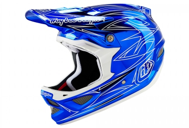 casque integral troy lee designs d3 composite pinstripe ii 2016 bleu chrome