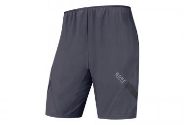 gore running wear short 2 en 1 air gris