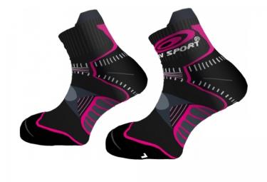 bv sport paire de chaussettes trail femina noir rose