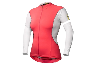 mavic maillot manches amovibles femme cosmic pro w rose blanc