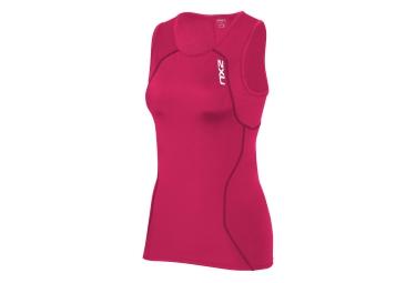 2xu maillot triathlon sans manches de compression active tri singlet rose femme