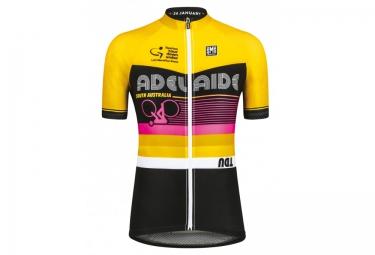 santini maillot manches courtes tdu adelaide jaune rose