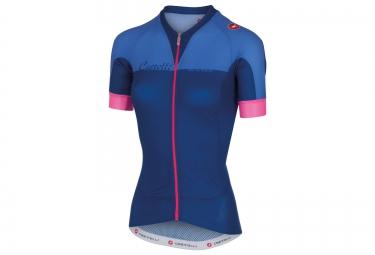 castelli maillot manches courtes femme aero race bleu rose