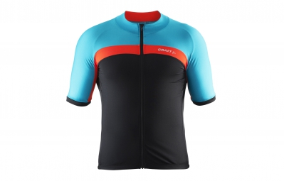craft maillot velo bleu orange noir