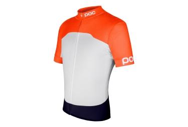 poc maillot manches courtes avip printed light orange blanc