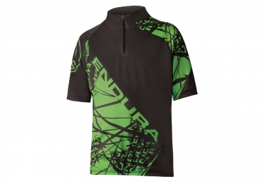 maillot manches courtes enfant endura hummvee ray noir vert