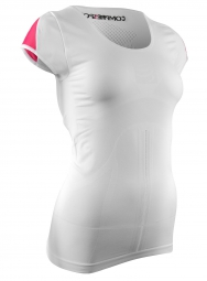 maillot de trail femme compressport trail shirt v2 blanc rose