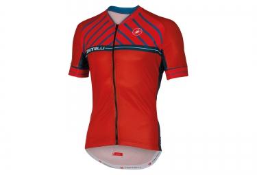 maillot manches courtes castelli scotta rouge