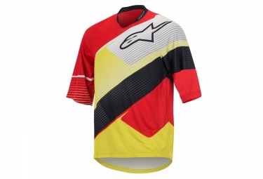maillot manches 3 4 alpinestars depth rouge jaune