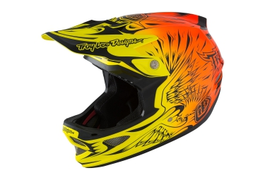 casque integral troy lee designs d3 carbon mips ravage 2016 orange jaune