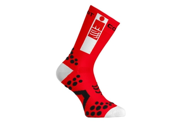 paire de chaussettes compressport pro racing socks v2 1 bike ironman rouge