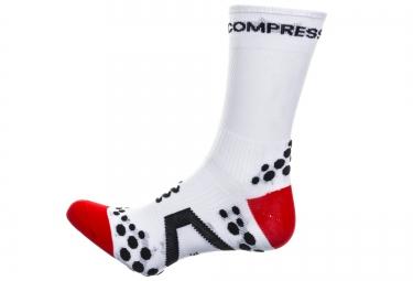 paire de chaussettes compressport pro racing socks v2 1 bike ironman blanc