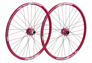 paire de roues spank spike race 28 bead bite 27 5 av 20x110mm ar 12x150mm rouge
