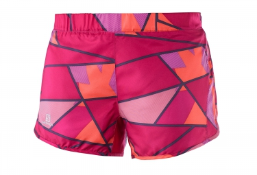 short running femme salomon agile short rose orange