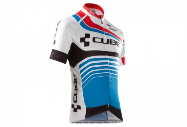 maillot manches courtes cube teamline blanc bleu