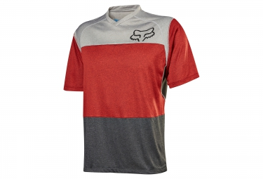 maillot manches courtes fox indicator gris rouge