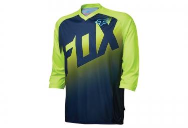 maillot manches 3 4 fox flow bleu jaune