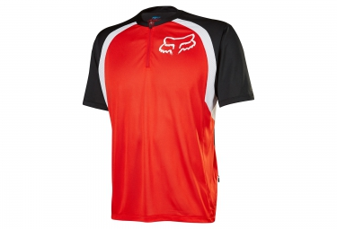 maillot manches courtes demi zip fox altitude rouge noir