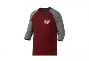 t shirt 3 4 oakley fp raglan rouge gris