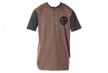 t shirt demolition henley marron gris