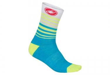 paire de chaussettes castelli righina 13 bleu blanc jaune
