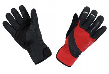 gants hiver gore bike wear universal windstopper noir rouge