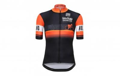 maillot manches courtes santini gelderland stage noir orange