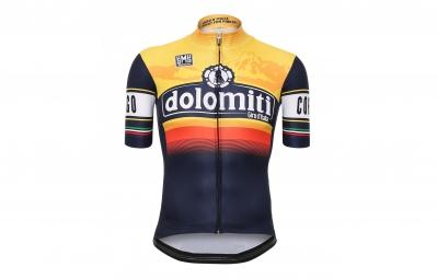 maillot manches courtes santini dolomiti stage bleu