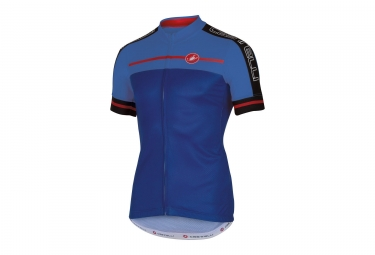 maillot manches courtes castelli velocissimo bleu