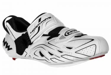 paire de chaussures triathlon northwave tri sonic blanc noir