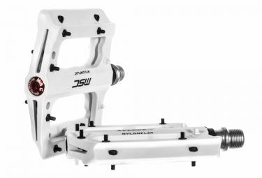 msc paire de pedales nylon flat blanc