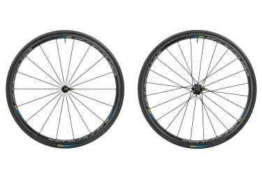 paire de roues mavic ksyrium pro carbon sl t haute route 2017 noir bleu corps shiman