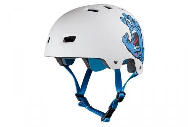 casque bol bullet santa cruz screaming hand blanc mat