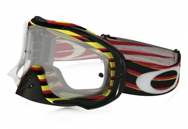 masque oakley crowbar mx rouge jaune transparant oo7025 29