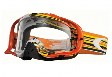 masque oakley crowbar mx glitch orange jaune transparant oo7025 24