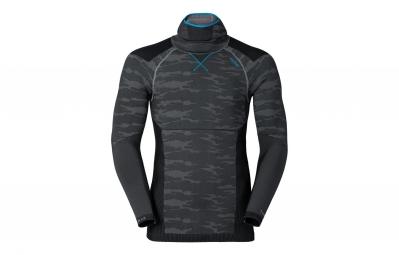 odlo t shirt capuche evolution warm blackcomb gris bleu