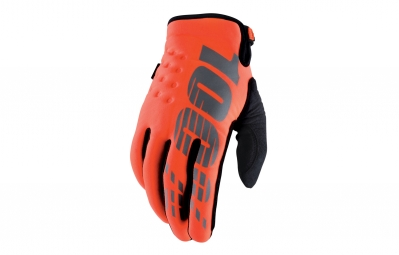 gants longs 100 brisker orange fluo