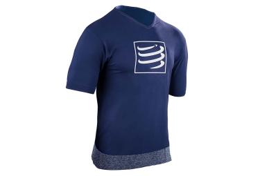 t shirt compressport training bleu