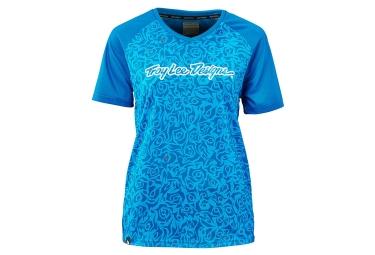 troy lee designs maillot manches courtes femme skyline bleu