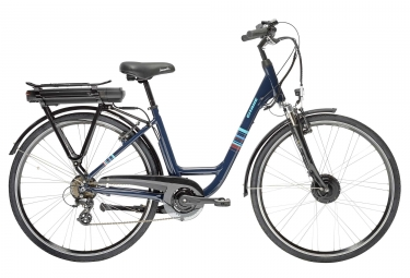 velo de ville electrique femme gitane organ e bike 700 mm 7 vitesses bleu