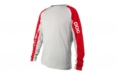 maillot manches longues poc resistance strong intense ed gris rouge