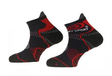 paire de chaussettes basses bv sport trail stx noir rouge
