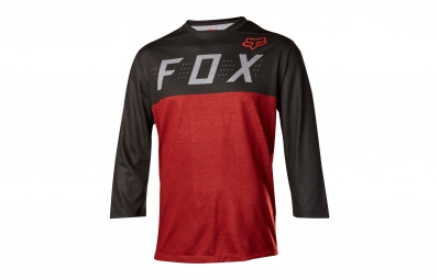 maillot manches 3 4 fox indicator rouge noir
