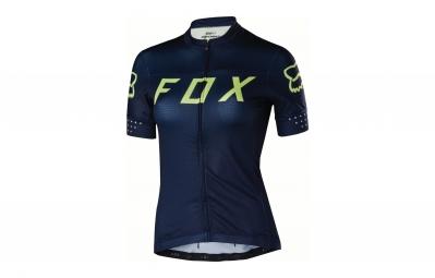 maillot manches courtes femme fox switchback bleu jaune